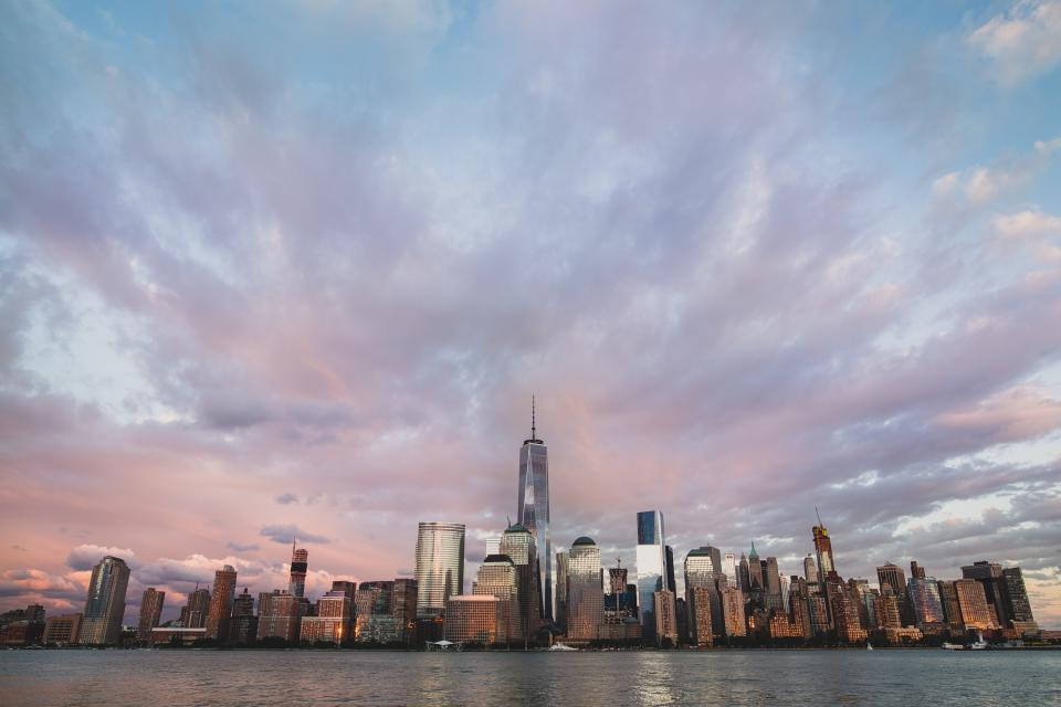 New York, city, NYC, skyline, cityscape, buildings, architecture, skyscrapers, high rises, urban, water, sky, clouds, sunset
