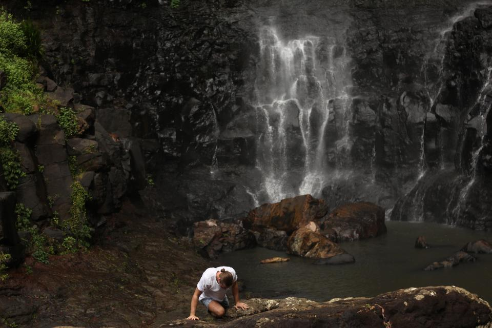 people, man, water, falls, waterfalls, travel, adventure, rocks, nature, trees, alone, sad