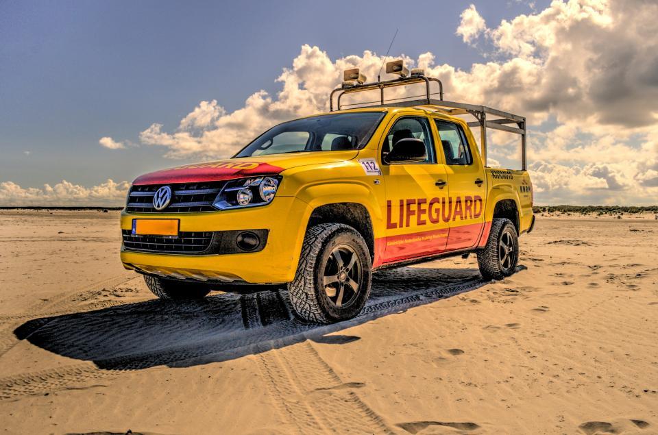 lifeguard, truck, beach, sand, yellow, sunshine, sunny, summer