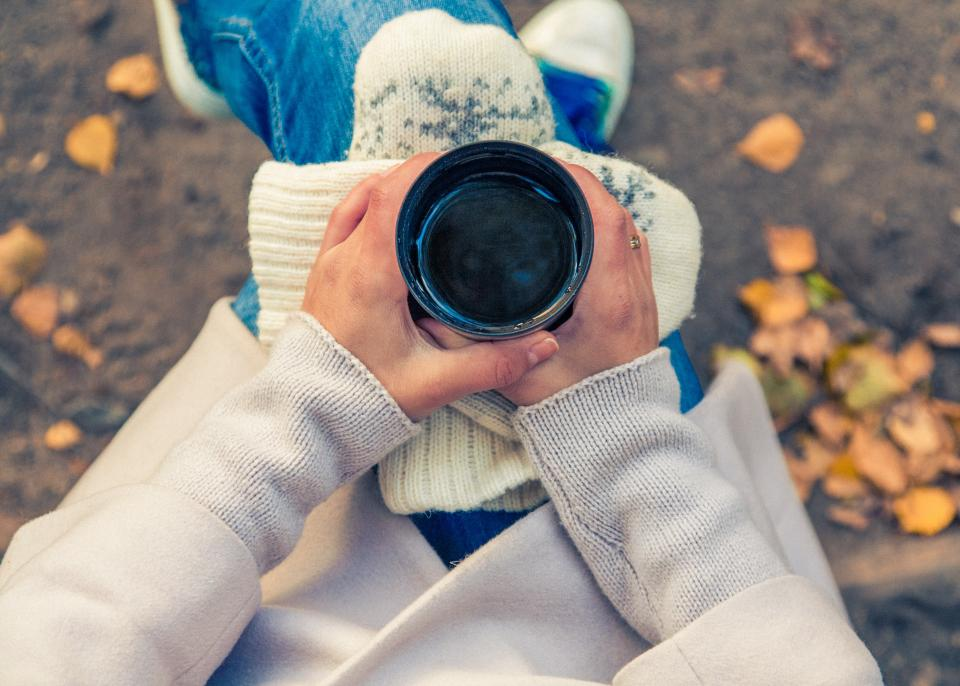 tea, cup, mug, hands, fall, autumn, nature, people