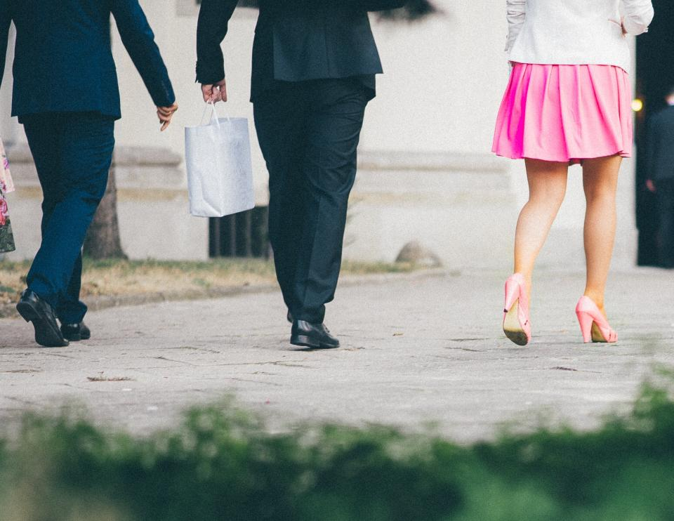 suits, shoes, high heels, pink, skirt, bags, fashion, shopping, people, walking, pedestrians, path, pavement