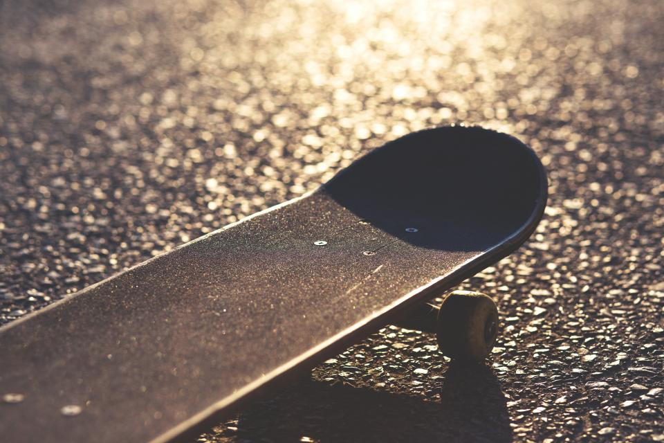 still, items, things, skateboard, skate, thrasher, wheels, floor, light, shadows, bokeh