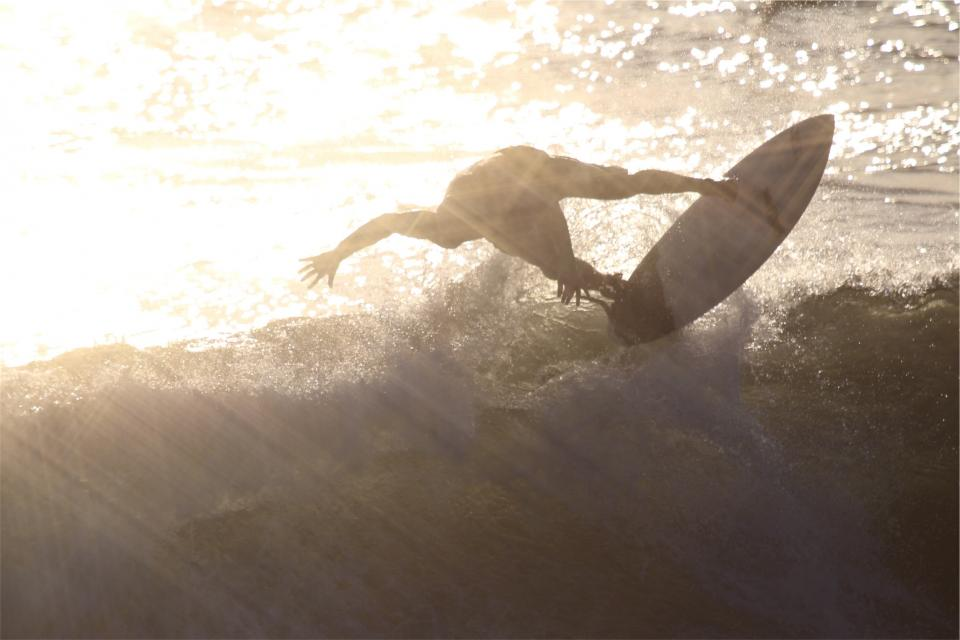 surfing, surfer, surfboard, sunset, sun rays, waves, ocean, water, sports