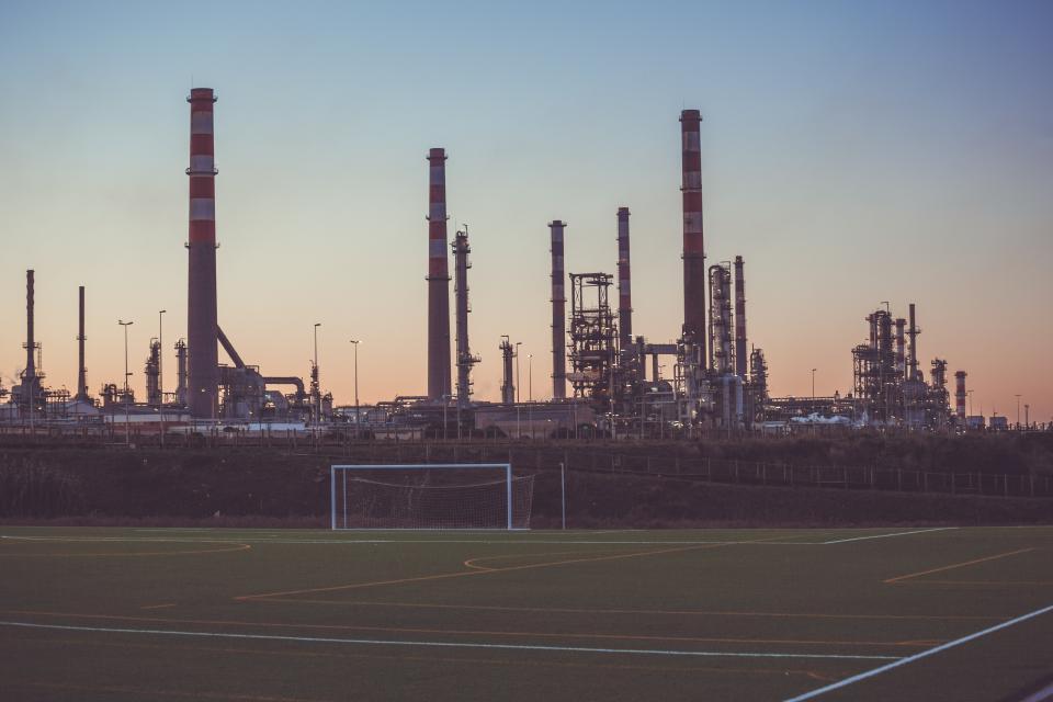 soccer field, sports, industrial, factories, sunset, sky