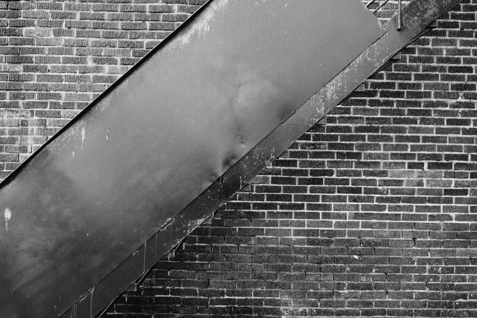 bricks, wall, staircase, black and white, city, urban