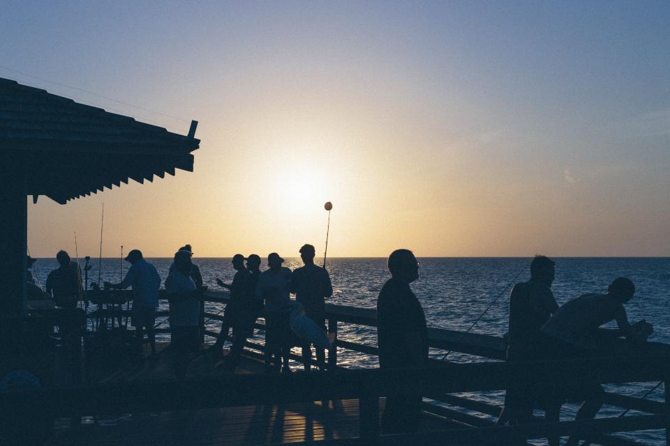 nature, water, ocean, sea, sky, horizon, sunset, sunrise, dusk, dawn, sun, men, women, people, silhouette, shadow, dock, cottage