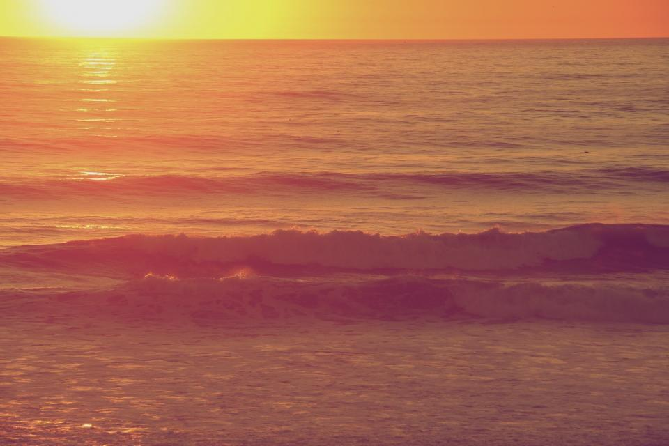 sunset, beach, ocean, sea, waves, water