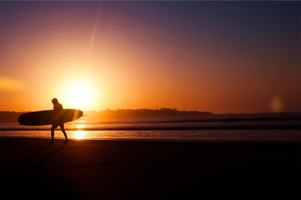 sunset, dusk, surfer, surfboard, beach, sand, ocean, sea, sky