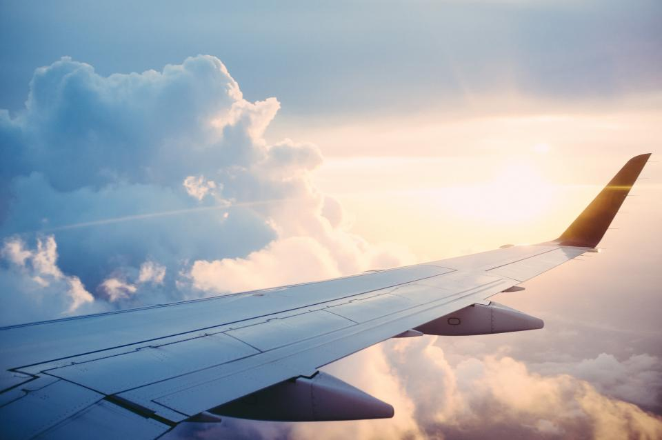 airplane, wing, flight, flying, travel, transportation, sky, clouds, sunset, aerial, view