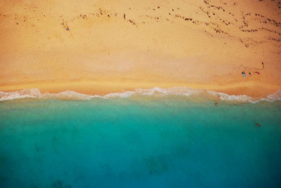 beach, sand, ocean, sea, shore, tropical, vacation, island, footprints, summer, sunny