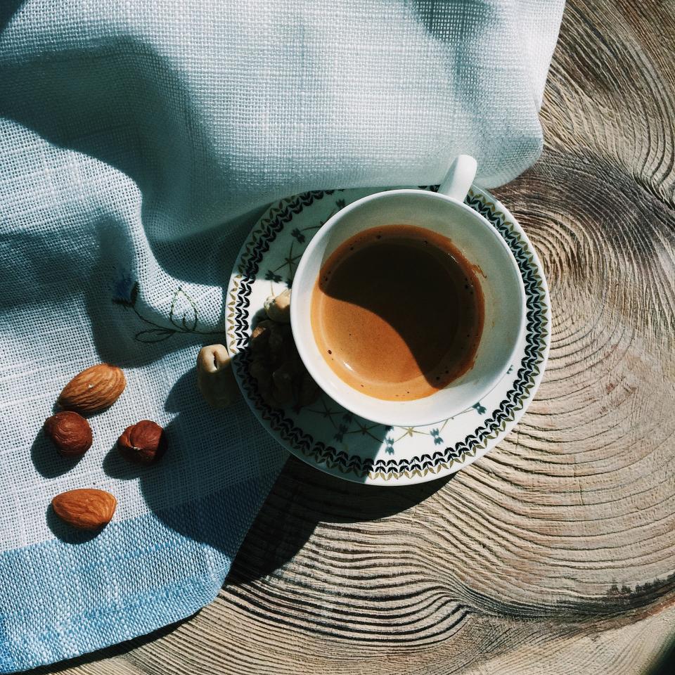 coffee, espresso, nuts, sunlight