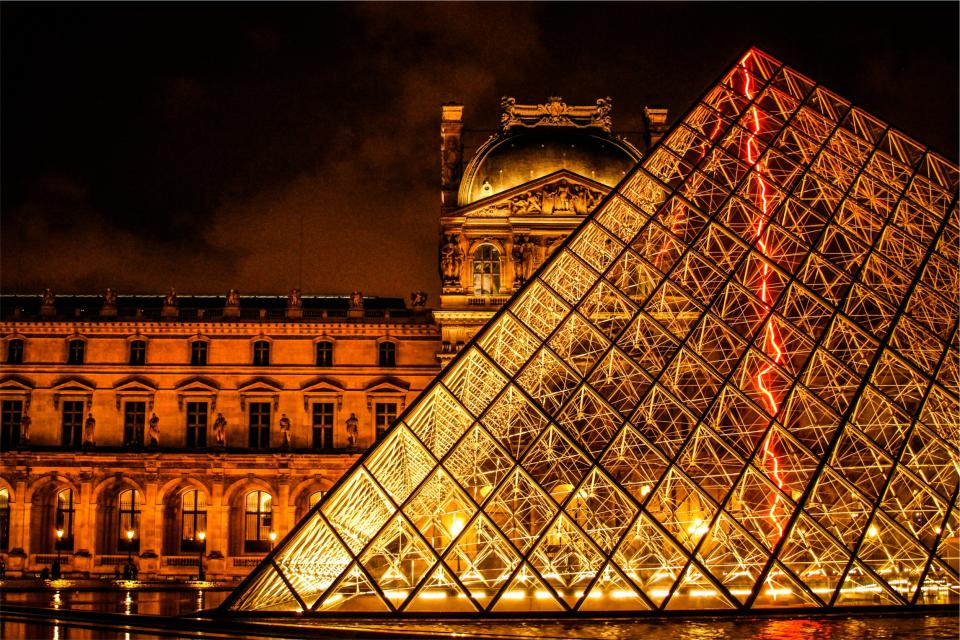 The Louvre, Paris, France, architecture, art, gallery, museum, buildings, dark, night, lights