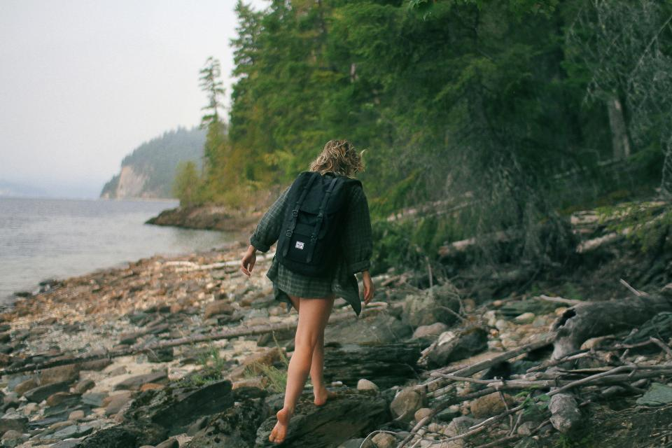 girl, hiking, trekking, walking, backpack, woman, people, wood, logs, coast, lake, water, trees, forest, woods, nature, adventure, fitness, outdoors
