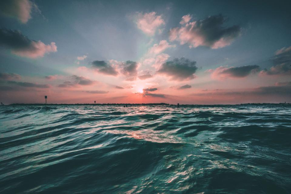 ocean, sea, lake, water, sunset, sky, clouds, dusk, nature, horizon, landscape