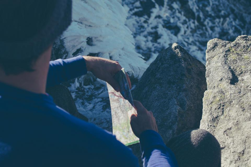 guy, man, hiking, trekking, adventure, fitness, exercise, outdoors, training, rocks, cliffs, mountains, map, directions, navigation