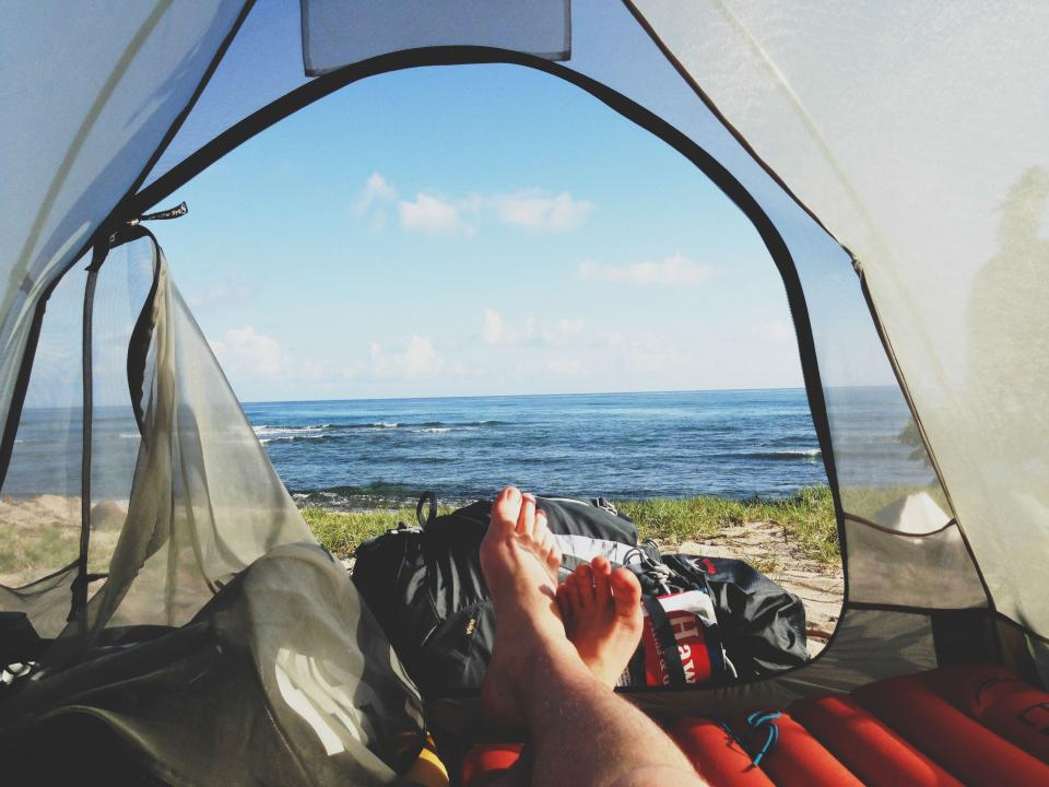 tent, camping, outdoors, lake, water, feet