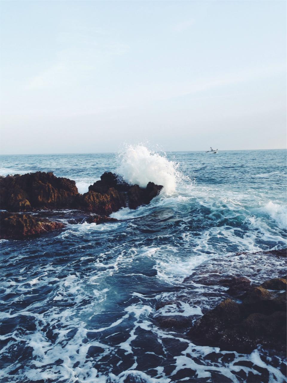 waves, ocean, sea, water, splash, rocks