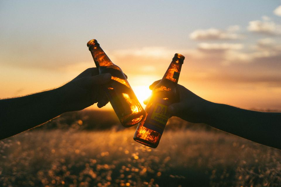 cheers, beer, bottles, hands, sunset, dusk, field, nature, sky, silhouette